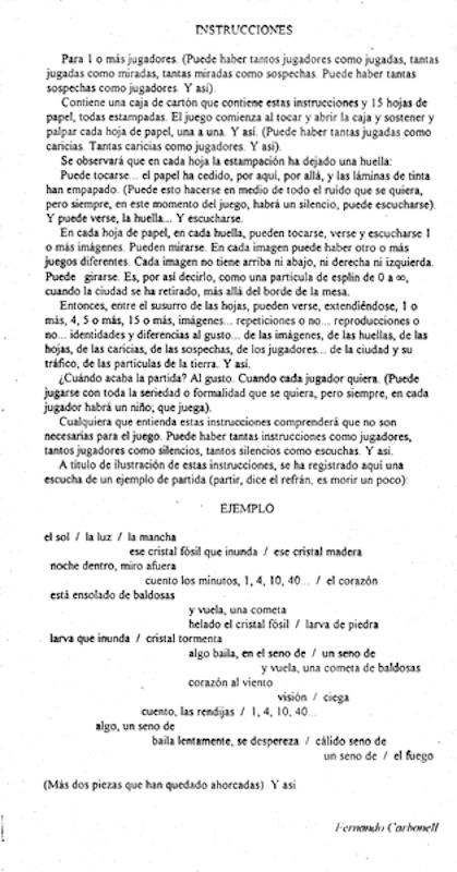 F.Carbonell: INSTRUCCIONES - JUGAR A VER 1998