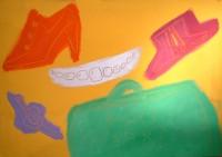 BODEGON DE COMPLEMENTOS -88 65x92cm.pigmentos y oleo lienzo