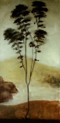 arbolito pintado renacentista 70x35 oleo-tabla