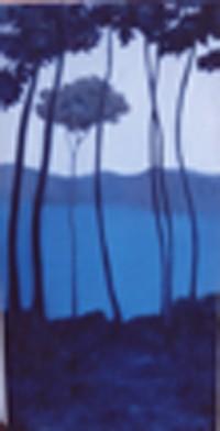 paisaje azul vert. 130x65  oleo-tabla