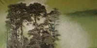 paisaje h. 04es el silencio verdeoscuro 73x146 imp. digital y oleo - lienzo