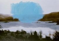 paisaje h. 08 el beso azul 114x146  imp. digital y oleo - lienzo