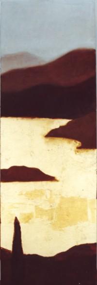 pantano oro vert. 120x40 oleo y pan de oro-tabla