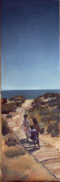 playa vert. camino 120x40 oleo-tabla